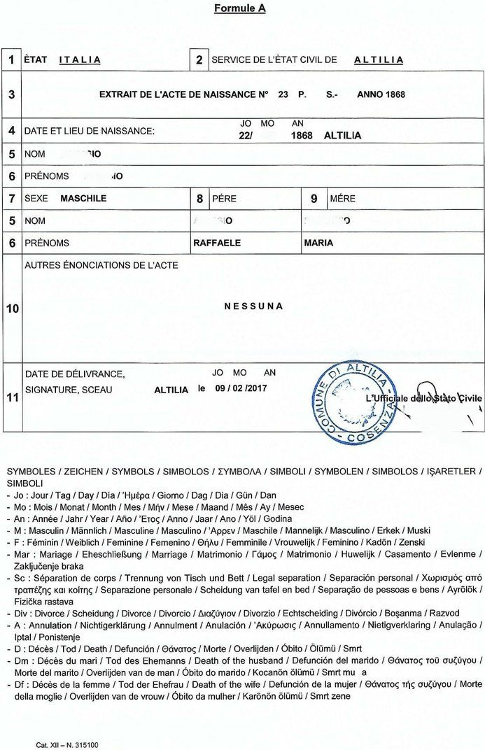 Multilingual extract of birth certificate