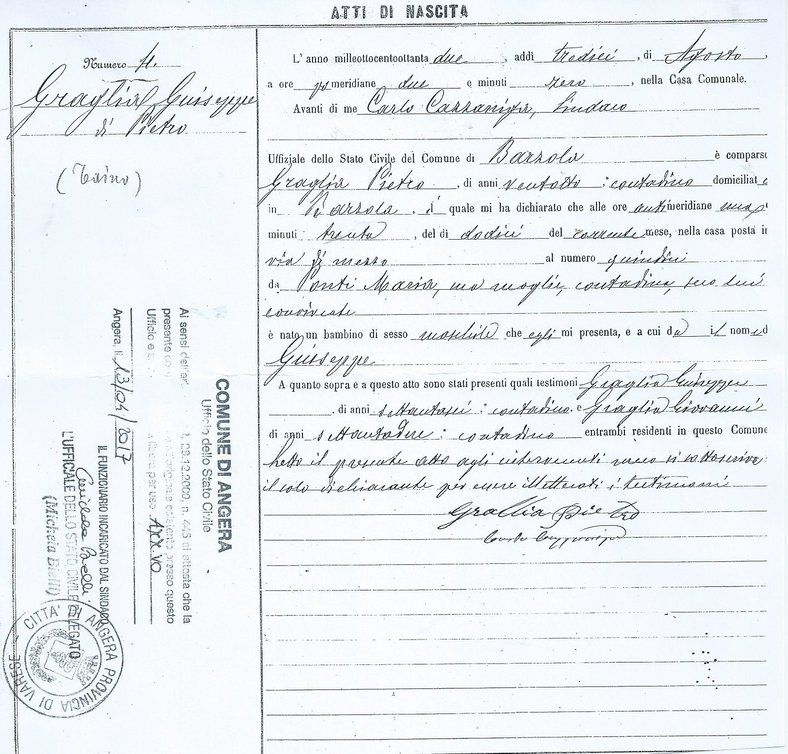 Integral copy of birth record