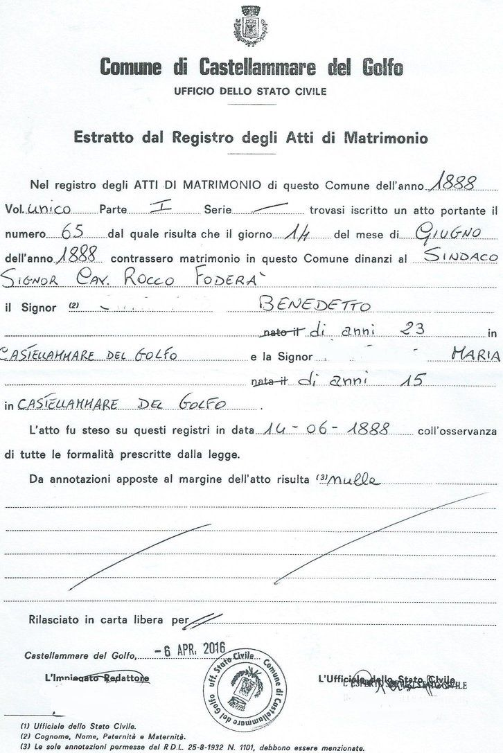 Extract of the Marriage Certificate