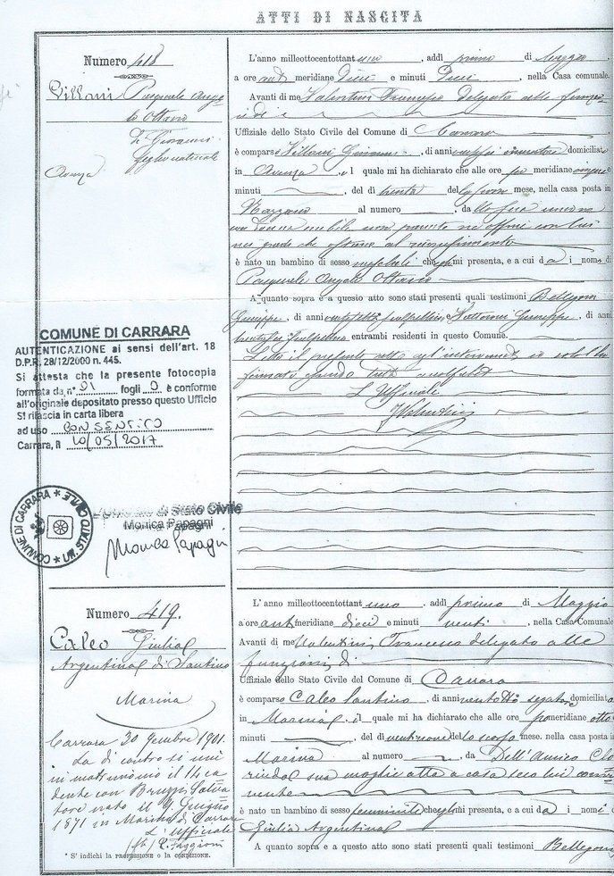 Copy of birth record