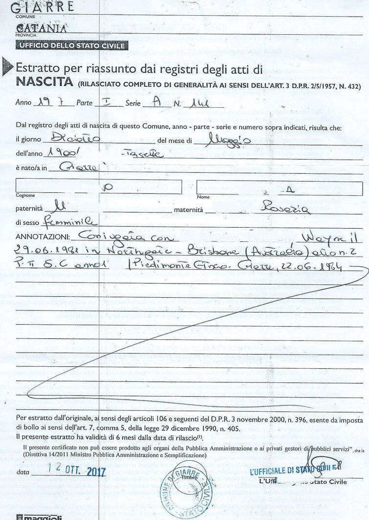 Extract of birth Certificate, reporting parents' names