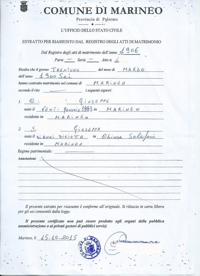 Marriage Certificate, Extract of the Marriage Certificate