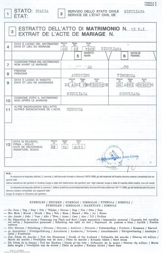 Extract of the Marriage Certificate - Marriage Act