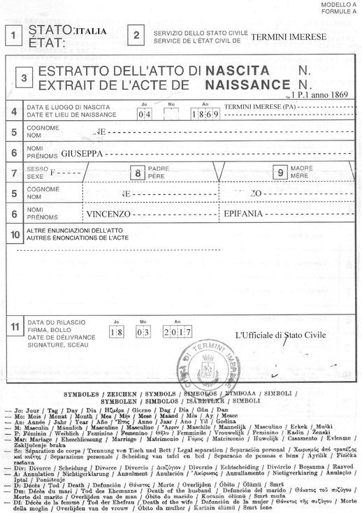 Extract / birth certificate (showing his father and mother's names)